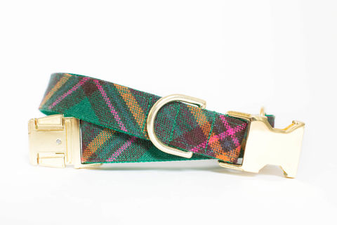 Emerald,Autumn,Plaid,Dog,Collar,gold dog collar, fall dog collar, autumn dog collar, plaid dog collar, tartan dog collar, emerald dog collar, green