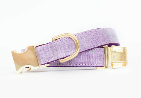 Watercolor,Linen,Dog,Collar,in,Bright,Lilac,gold dog collar, fall dog collar, lavender and gold dog collar, metallic gold, linen dog collar, lilac dog collar, gold dog collar, rustic linen
