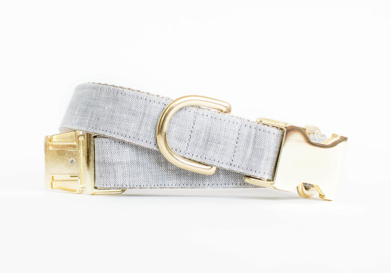 Watercolor Linen Dog Collar in Light Grey - product image