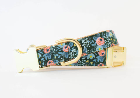 Les,Fleurs,Rosa,Flora,Dog,Collar,in,Pine,Green,gold dog collar, metallic, pink dog collar, pink and gold dog collar, metallic gold, rifle paper co, rifle paper dog collar, peach dog collar