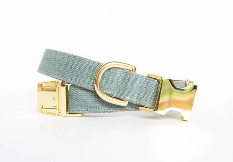 Slate,Blue,Linen,Dog,Collar,gold dog collar, fall dog collar, grey and gold dog collar, metallic gold, linen dog collar, grey dog collar, gold dog collar, rustic linen