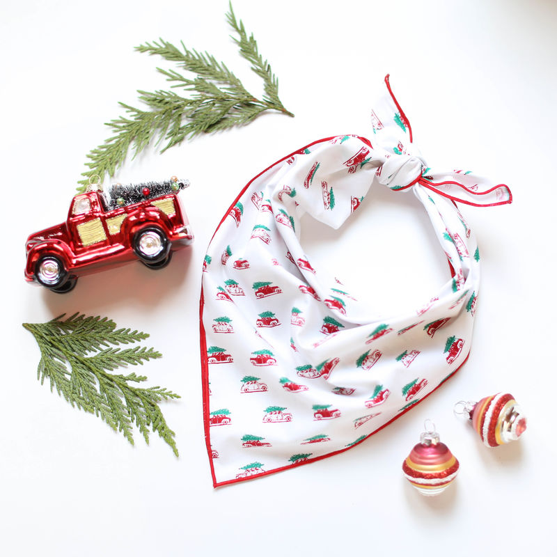 Vintage Holiday Cars Dog Bandana - product images  of