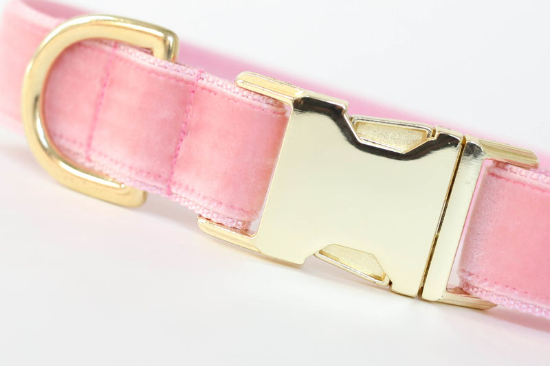 Luxe Velvet Dog Collar in Blush Pink - product images  of