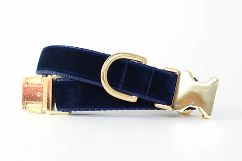 Luxe,Velvet,Dog,Collar,in,Midnight,Navy,velvet dog collar, velveteen dog collar, classic velvet, classic dog collar, vintage style dog collar, navy velvet dog collar, deep blue velvet