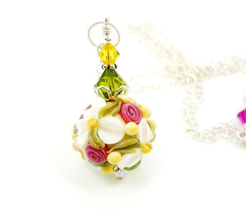 Spring,Floral,Lampwork,Glass,Necklace,Handmade Necklace, Handmade Jewelry, Handcrafted Jewelry, Lampwork Jewelry, Sterling Silver Necklace, Beadz and More, Beadwork Necklace, Glass Necklace, Glass Bead Necklace, Lampwork Necklace, Floral Necklace, Easter Jewelry, Mother's Day Jewelry