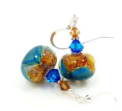 Blue,Brown,Boro,Lampwork,Earrings,Handmade Earrings, Handmade Jewelry, Handcrafted Earrings, Sterling Silver Earrings, Beadz and More, Beadwork Earrings, Glass Earrings, Glass Bead Earrings, Lampwork Earrings, Boro Earrings, Blue and Brown Earrings