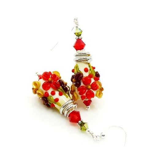 Red,Christmas,Floral,Lampwork,Earrings,Handmade Earrings, Handmade Jewelry, Lampwork Earrings, Christmas Earrings, Floral Earrings, Silver Earrings, Sterling Earrings, Glass Jewelry, Glass Bead Earrings, Beadz and More, Bead Earrings, Glass Earrings, Fall Earrings