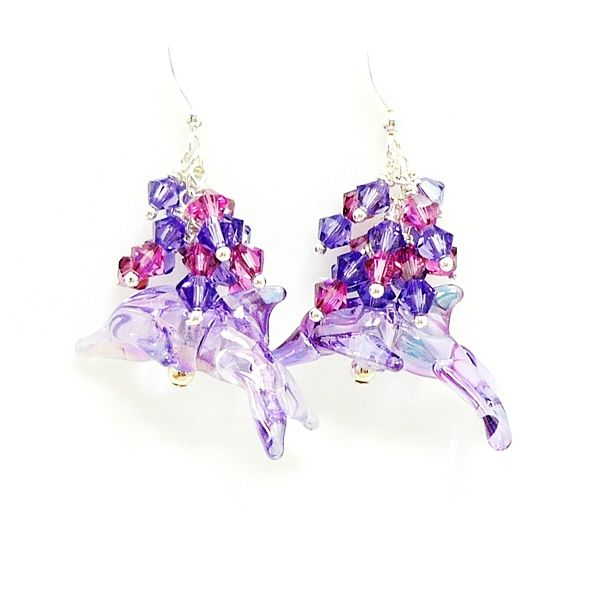 Purple & Pink Beaded Cluster Dolphin Earrings - product images  of
