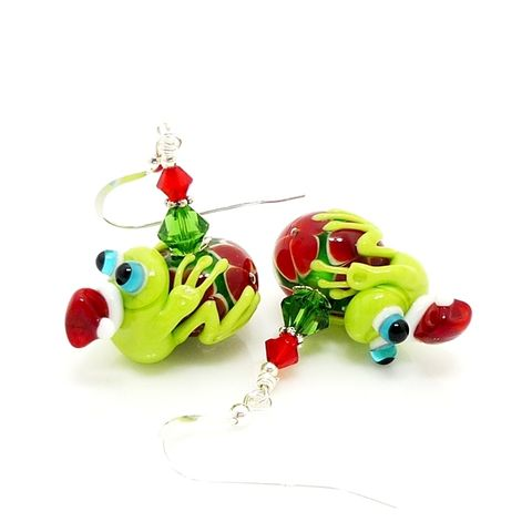 Red,and,Green,Christmas,Frog,Earrings,Handmade Jewelry, Lampwork Jewelry, Frog Earrings, Sterling Earrings, Colorful Earrings, Glass Bead Earrings, Glass Jewelry, Silver Earrings, Floral Earrings, Beadz and More, Flower Errings, Frog Jewelry, Christmas Earrings, Christmas Jewelry, Fun, Whimsi