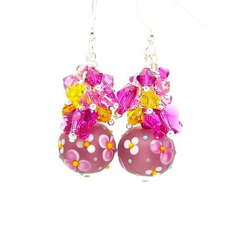 Pink,Flowers,and,Butterflies,Lampwork,Earrings,Handmade Earrings, Handmade Jewelry, Lampwork Jewelry, Sterling Silver Earrings, Beadz and More, Beadwork Earrings, Glass Earrings, Glass Bead Earrings, Lampwork Earrings, Pink Earrings, Pink Floral Earrings, Flowers and Butterflies