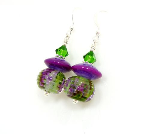 Purple,Ribbed,Lampwork,Earrings,Handmade Earrings, Handmade Jewelry, Lampwork, Purple, Sterling Silver, Glass Earrings, Beadz and More, Glass Beads Jewelry, Handcrafted
