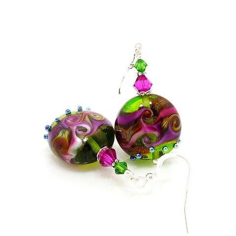 Green,and,Hot,Pink,Swirl,Wave,Earrings,Handmade Earrings, Lampwork Earrings, Glass Earrings, Glass Bead Earrings, Beadwork Earrings, Green Earrings, Unique, Glass Art Earrings, Beadz and More, Sterling Silver