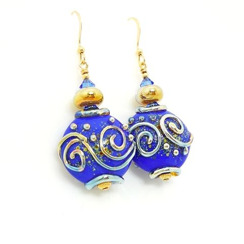 Cobalt,Blue,Scroll,Earrings,Handmade Jewelry, Handmade Earrings, Lampwork Earrings, Lampwork Jewelry, Glass Beads Jewelry, Glass Earrings, Gold Filled Earrings, Blue Earrings, Gold Dangle Earrings, Beadz and More