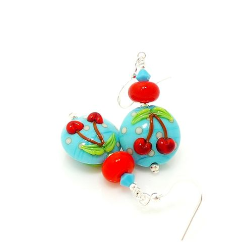 Turquoise,Blue,and,Red,Cherry,Earrings,Handmade Earrings, Handmade Jewelry, Cherry Earrings, Lampwork Earrings, Glass Earrings, Glass Beads Jewelry, Blue Earrings, Lampwork Jewelry, Beadz and More, Silver Earrings, Dangle Earrings