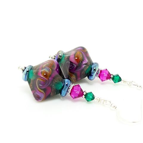 Colorful,Swirl,Bicone,Earrings,Handmade, Handcrafted, Lampwork, Glass, Earrings, Jewelry, Colorful, Rainbow, Lampwork Earrings, Lampwork Glass Earrings, Handmade Lampwork Jewelry, Beadz and More, Handcrafted Bead Jewelry, Handmade Lampwork Earrings