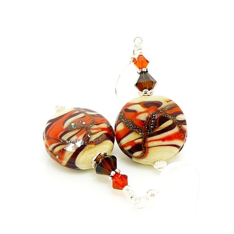 Desert,Swirl,Earrings,Handmade, Handcrafted, Lampwork, Glass, Earrings, Jewelry, Lampwork Earrings, Lampwork Glass Earrings, Handmade Lampwork Jewelry, Beadz and More, Handcrafted Bead Jewelry, Handmade Lampwork Earrings, Glass Beads Earrings, Orange and Brown