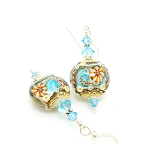 Blue,Beach,Themed,Earrings,Handmade Earrings, Handmade Jewelry, Lampwork Earrings, Lampwork Jewelry, Glass Earrings, Glass Beads Jewelry, Ocean Earrings, Beach Jewerly, Blue Earrings, Sterling Silver