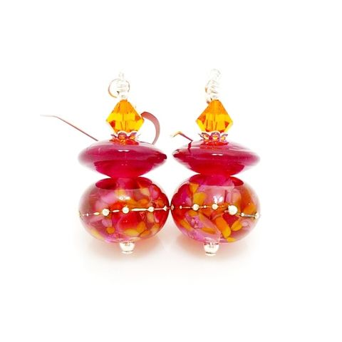 Pink,and,Orange,Glass,Earrings,Handmade, Handcrafted, Lampwork, Glass, Earrings, Jewelry, Lampwork Earrings, Lampwork Glass Earrings, Handmade Lampwork Jewelry, Beadz and More, Handcrafted Bead Jewelry, Handmade Lampwork Earrings, Glass Beads Earrings, Glass Bead Jewelry
