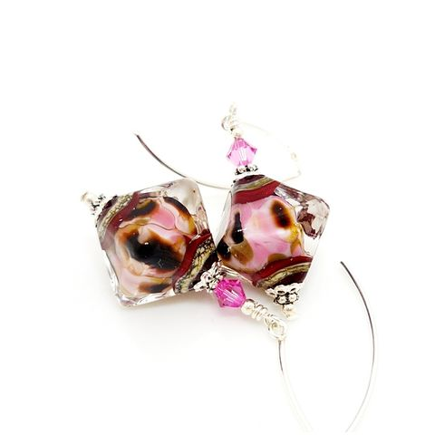 Pink,and,Brown,Crystal,Shape,Earrings,Handmade, Handcrafted, Lampwork, Glass, Earrings, Jewelry, Lampwork Earrings, Lampwork Glass Earrings, Handmade Lampwork Jewelry, Beadz and More, Handcrafted Bead Jewelry, Handmade Lampwork Earrings, Glass Beads Earrings, Glass Bead Jewelry