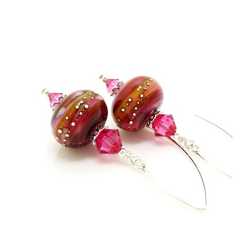 Pink,Swirl,Earrings,Handmade, Handcrafted, Lampwork, Glass, Earrings, Jewelry, Pink, Lampwork Earrings, Lampwork Glass Earrings, Handmade Lampwork Jewelry, Beadz and More, Handcrafted Bead Jewelry, Handmade Lampwork Earrings, Glass Beads Earrings, Glass Bead Jewelry