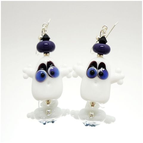 Purple,Eyed,Halloween,Ghost,Earrings,Handmade, Handcrafted, Lampwork, Glass, Earrings, Jewelry, Halloween, Ghost, Halloween Earrings, Lampwork Earrings, Lampwork Glass Earrings, Handmade Lampwork Jewelry, Beadz and More, Handcrafted Bead Jewelry, Glass Beads Jewelry