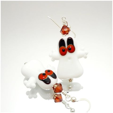 Orange,Eyed,Halloween,Ghost,Earrings,Handmade, Handcrafted, Lampwork, Glass, Earrings, Jewelry, Halloween, Ghost, Halloween Earrings, Lampwork Earrings, Lampwork Glass Earrings, Handmade Lampwork Jewelry, Beadz and More, Handcrafted Bead Jewelry, Glass Beads Jewelry