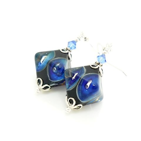 Blue,Crystal,Shaped,Earrings,Handmade, Handcrafted, Lampwork, Glass, Earrings, Jewelry, Blue, Lampwork Earrings, Lampwork Glass Earrings, Handmade Lampwork Jewelry, Beadz and More, Handcrafted Bead Jewelry, Handmade Lampwork Earrings, Glass Beads Earrings