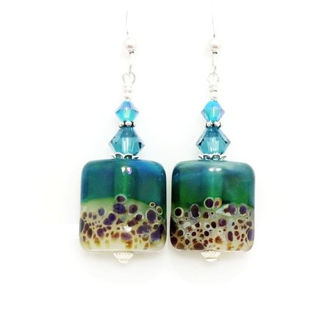 Blue,Nugget,Earrings,Handmade, Handcrafted, Lampwork, Glass, Earrings, Jewelry, Blue, Lampwork Earrings, Lampwork Glass Earrings, Handmade Lampwork Jewelry, Beadz and More, Handcrafted Bead Jewelry, Handmade Lampwork Earrings, Glass Beads Earrings