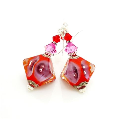 Red,Crystal,Shaped,Earrings,Handmade, Handcrafted, Lampwork, Glass, Earrings, Jewelry, Red, Lampwork Earrings, Lampwork Glass Earrings, Handmade Lampwork Jewelry, Beadz and More, Handcrafted Bead Jewelry, Handmade Lampwork Earrings, Glass Beads Earrings