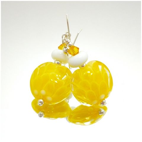 Yellow,and,White,Lotus,Flower,Earrings,Handmade, Handcrafted, Lampwork, Glass, Earrings, Jewelry, Yellow, Lotus Flower, Flower Petal, Lampwork Earrings, Lampwork Glass Earrings, Handmade Lampwork Jewelry, Beadz and More, Handcrafted Bead Jewelry, Handmade Lampwork Earrings, Glass Beads Earring