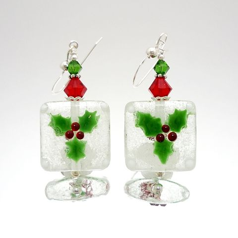 Christmas,Holly,Earrings,Handmade, Handcrafted, Lampwork, Glass, Earrings, Jewelry, Mistletoe, Christmas Earrings, Lampwork Earrings, Lampwork Glass Earrings, Handmade Lampwork Jewelry, Beadz and More, Handcrafted Bead Jewelry, Glass Beads Jewelry, Holiday Earrings