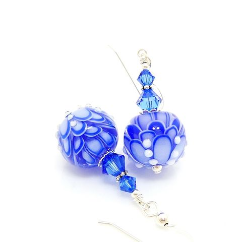 Round,Blue,Lotus,Flower,Earrings,Handmade, Handcrafted, Lampwork, Glass, Earrings, Jewelry, Lampwork Earrings, Lampwork Glass Earrings, Handmade Lampwork Jewelry, Beadz and More, Handcrafted Bead Jewelry, Handmade Lampwork Earrings, Glass Beads Earrings, Blue Earrings