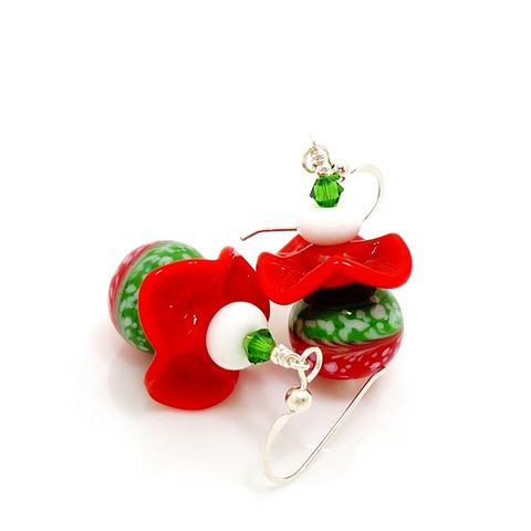 Red,and,Green,Ruffle,Christmas,Earrings,Handmade, Handcrafted, Lampwork, Glass, Earrings, Jewelry, Christmas Earrings, Lampwork Earrings, Lampwork Glass Earrings, Handmade Lampwork Jewelry, Beadz and More, Handcrafted Bead Jewelry, Glass Beads Jewelry, Holiday Earrings