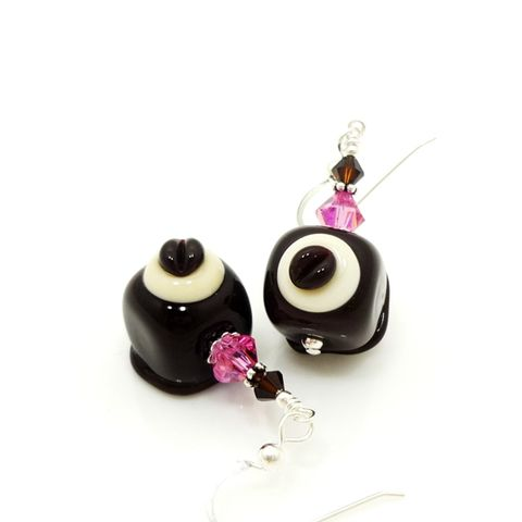 Bon,Shaped,Chocolate,Candy,Earrings,Handmade, Handcrafted, Lampwork, Glass, Earrings, Jewelry, Chocolate Candy Earrings, Lampwork Earrings, Lampwork Glass Earrings, Handmade Lampwork Jewelry, Beadz and More, Handcrafted Bead Jewelry, Handmade Lampwork Earrings, Glass Beads Earrings, Floral