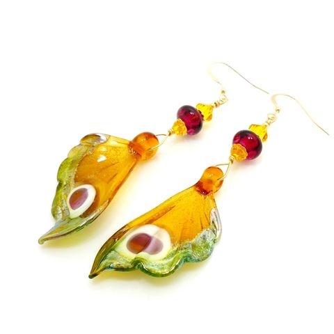 Yellow,and,Fuchsia,Butterfly,Wing,Earrings,Handmade, Handcrafted, Lampwork, Glass, Earrings, Jewelry, Butterfly, Butterfly Wings, Lampwork Earrings, Lampwork Glass Earrings, Handmade Lampwork Jewelry, Butterfly Wing Earrings, Butterfly Jewelry, Beadz and More, Animal Earrings