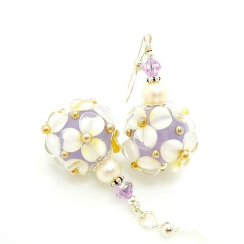Violet,Purple,and,White,Floral,Earrings,Handmade, Handcrafted, Lampwork, Glass, Earrings, Jewelry, Green, Lampwork Earrings, Lampwork Glass Earrings, Handmade Lampwork Jewelry, Beadz and More, Handcrafted Bead Jewelry, Handmade Lampwork Earrings, Glass Beads Earrings
