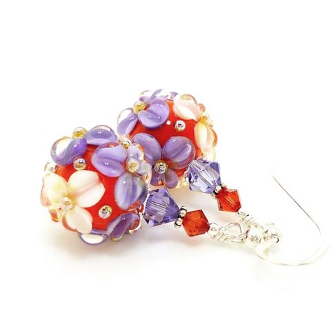 Purple,and,Orange,Floral,Earrings,Handmade, Handcrafted, Lampwork, Glass, Earrings, Jewelry, Lampwork Earrings, Lampwork Glass Earrings, Handmade Lampwork Jewelry, Beadz and More, Handcrafted Bead Jewelry, Handmade Lampwork Earrings, Glass Beads Earrings