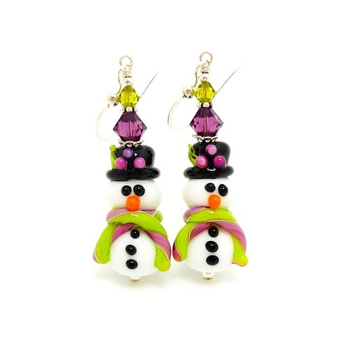 Purple,and,Lime,Snowman,Earrings,Handmade, Handcrafted, Lampwork, Glass, Earrings, Jewelry, Christmas, Snowman, Snowmen, Christmas Earrings, Lampwork Earrings, Lampwork Glass Earrings, Handmade Lampwork Jewelry, Beadz and More, Handcrafted Bead Jewelry, Glass Beads Jewelry