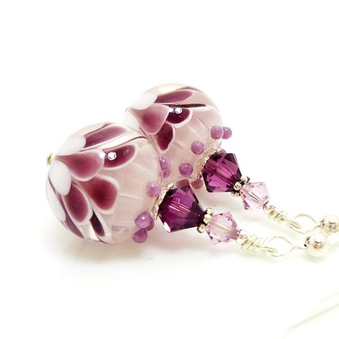 Amethyst,Purple,Flower,Earrings,Handmade, Handcrafted, Lampwork, Glass, Earrings, Jewelry, Lampwork Earrings, Lampwork Glass Earrings, Handmade Lampwork Jewelry, Beadz and More, Handcrafted Bead Jewelry, Handmade Lampwork Earrings, Glass Beads Earrings
