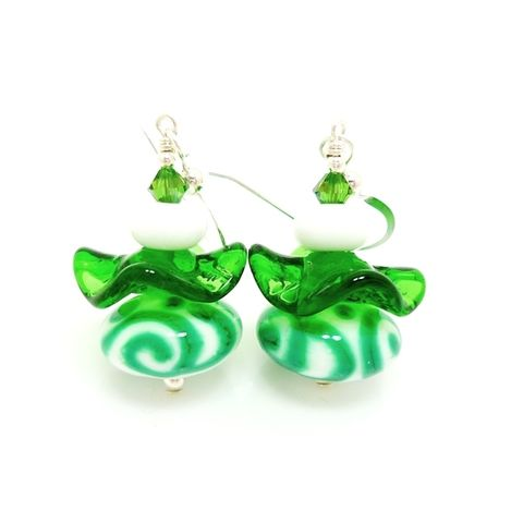 Green,Swirl,Ruffle,Earrings,Handmade, Handcrafted, Lampwork, Glass, Earrings, Jewelry, Ruffle, Lampwork Earrings, Lampwork Glass Earrings, Handmade Lampwork Jewelry, Beadz and More, Handcrafted Bead Jewelry, Handmade Lampwork Earrings, Teal Blue Ruffle Earrings