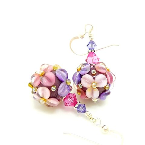 Purple,and,Pink,Floral,Earrings,Handmade, Handcrafted, Lampwork, Glass, Earrings, Jewelry, Lampwork Earrings, Lampwork Glass Earrings, Handmade Lampwork Jewelry, Beadz and More, Handcrafted Bead Jewelry, Handmade Lampwork Earrings, Glass Beads Earrings