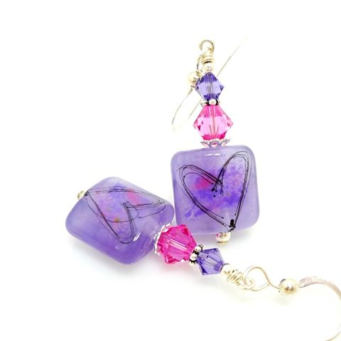 Violet,Purple,Tile,Silhouette,Heart,Earrings,Handmade, Handcrafted, Lampwork, Glass, Earrings, Jewelry, Lampwork Earrings, Lampwork Glass Earrings, Handmade Lampwork Jewelry, Beadz and More, Handcrafted Bead Jewelry, Handmade Lampwork Earrings, Glass Beads Earrings, Purple Earrings, Square Earrings