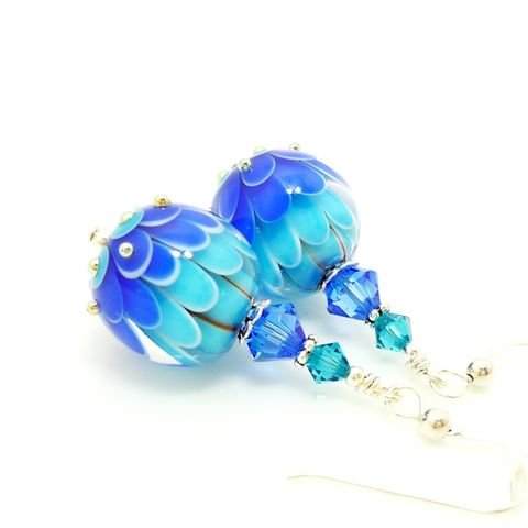 Blue,and,Turquoise,Layered,Flower,Earrings,Handmade, Handcrafted, Lampwork, Glass, Earrings, Jewelry, Lampwork Earrings, Lampwork Glass Earrings, Handmade Lampwork Jewelry, Beadz and More, Handcrafted Bead Jewelry, Handmade Lampwork Earrings, Glass Beads Earrings, Tree Earrings