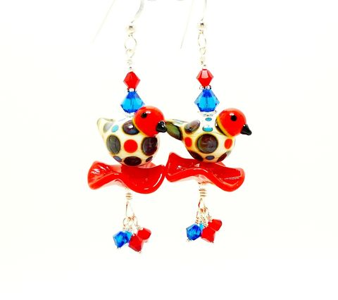 Red,Speckled,Bird,Dangle,Earrings,Handmade, Handcrafted, Lampwork, Glass, Earrings, Jewelry, Colorful, Lampwork Earrings, Lampwork Glass Earrings, Handmade Lampwork Jewelry, Beadz and More, Handcrafted Bead Jewelry, Handmade Lampwork Earrings, Glass Beads Earrings