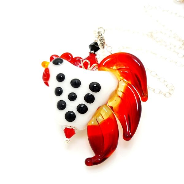 White With Black Polka Dots Chicken Rooster Pendant Necklace - product images  of