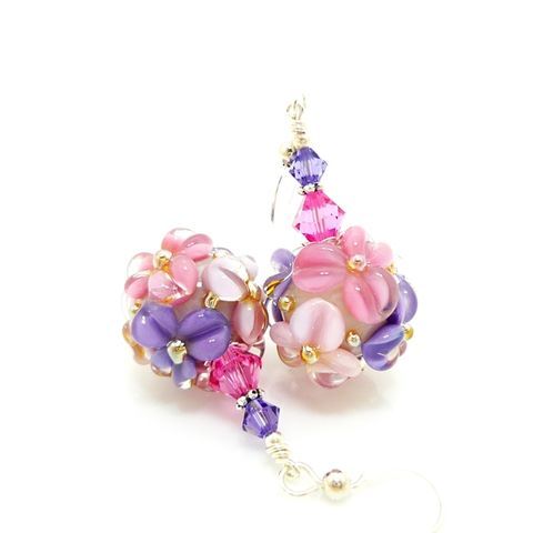 Pink,and,Purple,Floral,Earrings,Handmade, Handcrafted, Lampwork, Glass, Earrings, Jewelry, Lampwork Earrings, Lampwork Glass Earrings, Handmade Lampwork Jewelry, Beadz and More, Handcrafted Bead Jewelry, Handmade Lampwork Earrings, Glass Beads Earrings