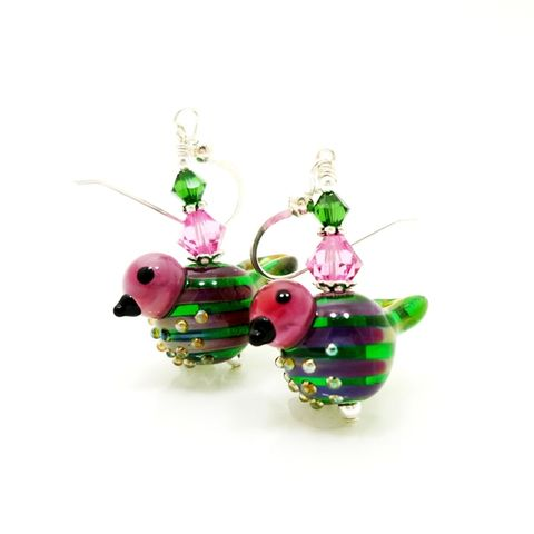 Pink,and,Green,Striped,Bird,Earrings,Handmade, Handcrafted, Lampwork, Glass, Earrings, Jewelry, Lampwork Earrings, Lampwork Glass Earrings, Handmade Lampwork Jewelry, Beadz and More, Handcrafted Bead Jewelry, Handmade Lampwork Earrings, Glass Beads Earrings, Purple Earrings, Square Earrings