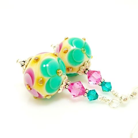 Pink,and,Green,Floral,Earrings,Handmade, Handcrafted, Lampwork, Glass, Earrings, Jewelry, Lampwork Earrings, Lampwork Glass Earrings, Handmade Lampwork Jewelry, Beadz and More, Handcrafted Bead Jewelry, Handmade Lampwork Earrings, Glass Beads Earrings