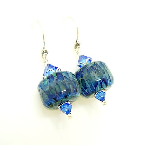 Blue,Boro,Glass,Earrings,Handmade, Handcrafted, Lampwork, Glass, Earrings, Jewelry, Lampwork Earrings, Lampwork Glass Earrings, Handmade Lampwork Jewelry, Beadz and More, Handcrafted Bead Jewelry, Handmade Lampwork Earrings, Glass Beads Earrings