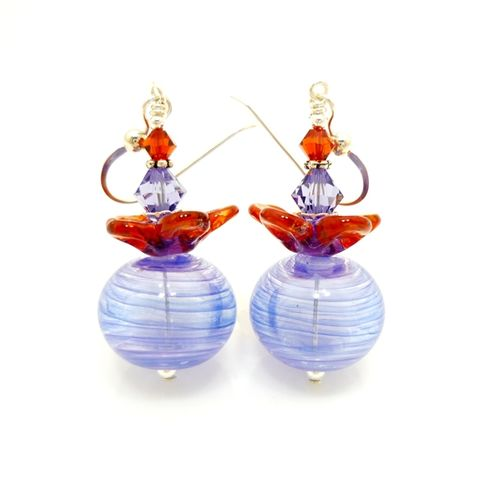 Purple,and,Orange,Flower,Petal,Earrings,Handmade, Handcrafted, Earrings, Lampwork, Colorful, Sterling Silver, Lampwork Earrings, Beadwork Earrings, Beadz and More, Glass Bead Earrings